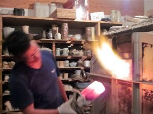 ガス窯窯焚き
